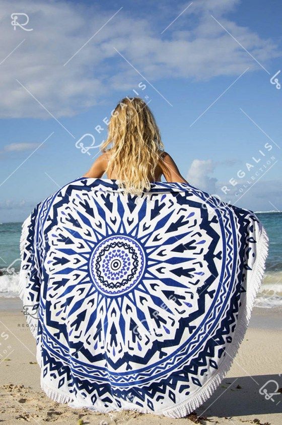 Blue Bone Round Beach Blanket (4)