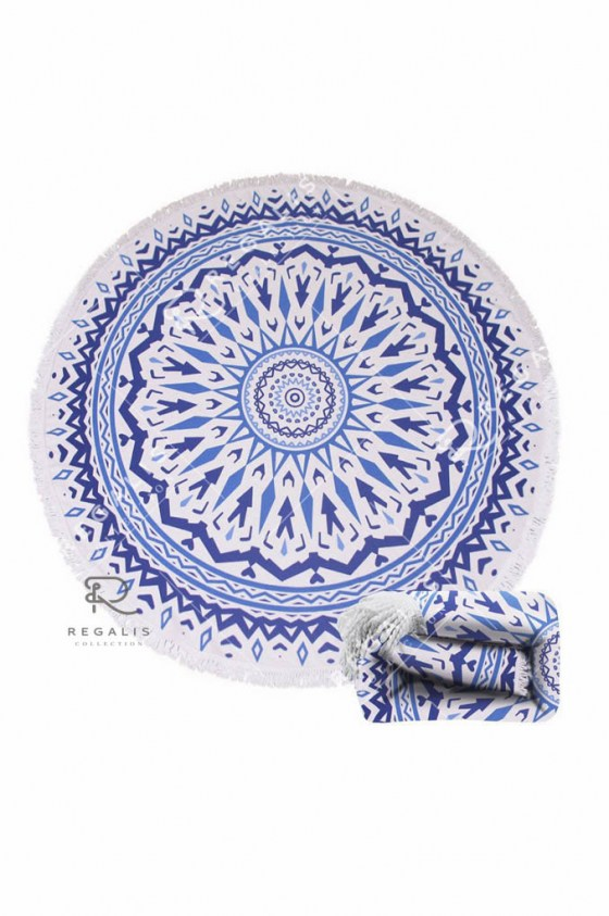 Blue Bone Round Beach Blanket