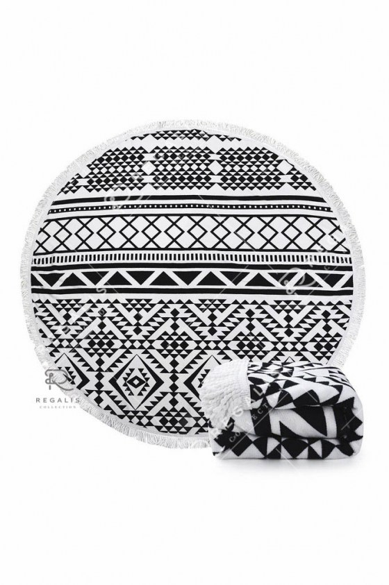 Geometric Round Beach Blanket Black & White