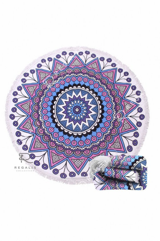 Purple Peacock Round Beach Blanket