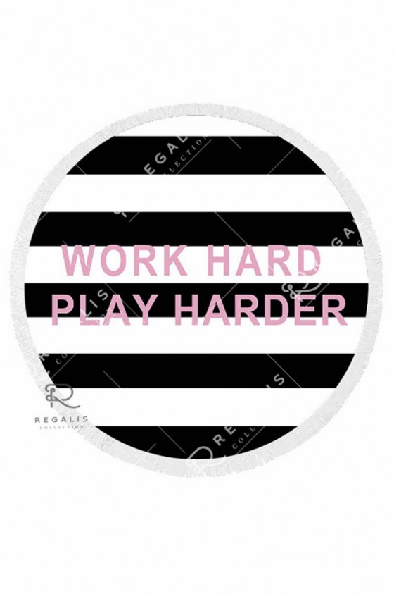 Work Hard Round Beach Blanket